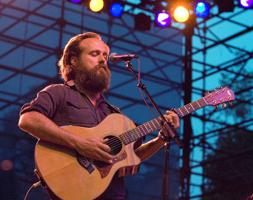 Paul Fraughton | Salt Lake Tribune Sam Beam of Iron and Wine  performs at the seventh Twilight Concert of the season at Pioneer Park.  Thursday, August 16, 2012