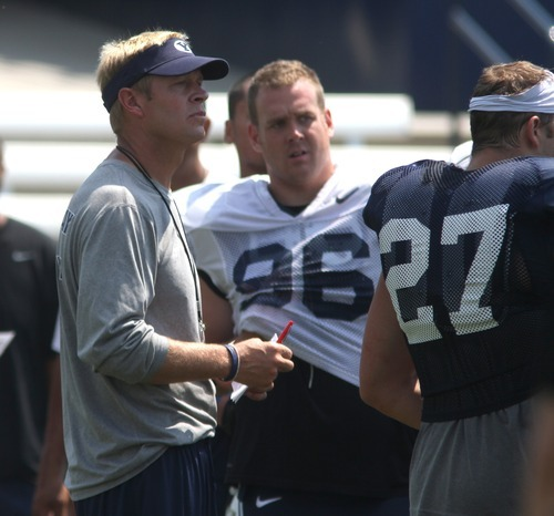 Rick Egan  | The Salt Lake Tribune   BYU head coach Bronco Mendenhall at the scrimmage at LaVell Edwards StadiumThursday, August 9, 2012.