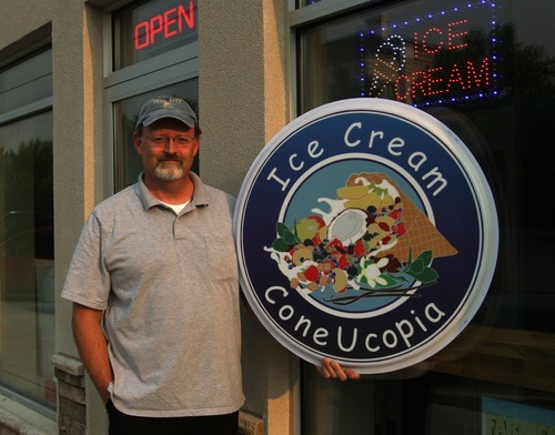 Rick Egan  | The Salt Lake Tribune   Shawn Stuart outside his ice cream store, ConeUcopia on 600 South in Salt Lake City, Wednesday, August 15, 2012.