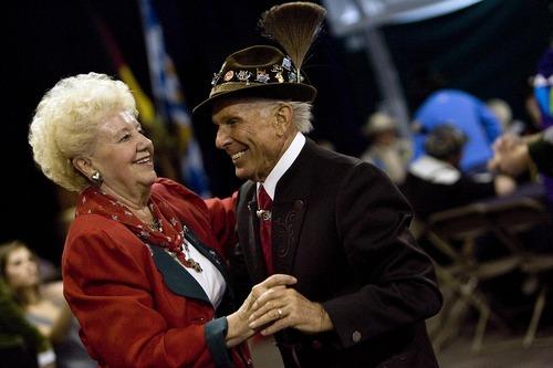 Djamila Grossman  |  The Salt Lake Tribune  Walter and Silvia Schwemmer dance at the annual Oktoberfest at Snowbird ski resort in Utah, on Sunday, Oct. 9, 2011.