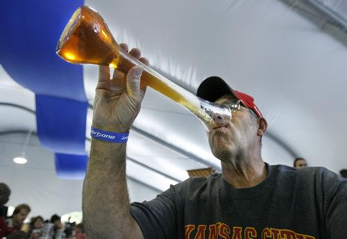 Scott Sommerdorf  l  The Salt Lake Tribune Steve Sadler drinks his beer from a towering stein he purchased at Snowbird's Oktoberfest in 2001.