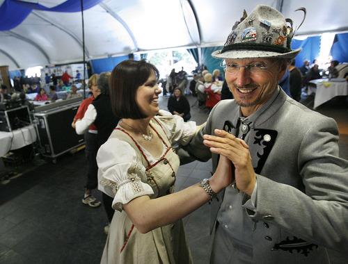 Scott Sommerdorf  l  The Salt Lake Tribune Doug and Stephanie Atkins dance to a German Polka during the final day at Oktoberfest at Snowbird Ski Resort in 2010.