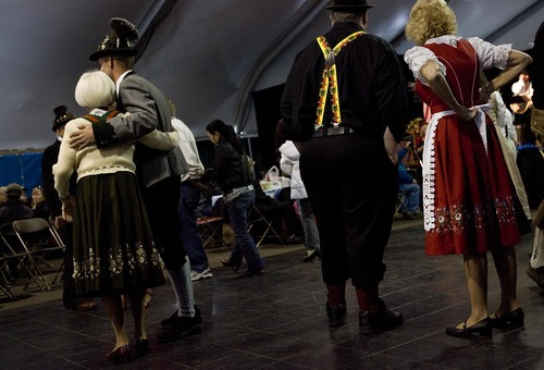 Djamila Grossman  |  The Salt Lake Tribune  People leave the dance floor after a waltz at the annual Oktoberfest at Snowbird ski resort in Utah, on Sunday, Oct. 9, 2011.