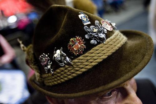 Djamila Grossman  |  The Salt Lake Tribune  Walter Schwemmer wears his decorated German hat at the annual Oktoberfest at Snowbird ski resort in Utah, on Sunday, Oct. 9, 2011.