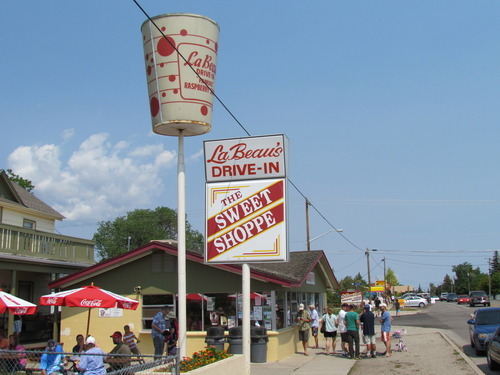 A view of the LeBeau's Drive-In and Sweet Shop, home of