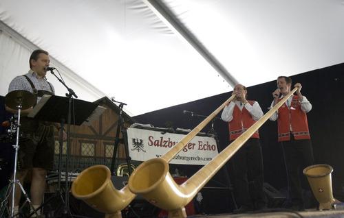 Kim Raff | The Salt Lake Tribune Salzburger Echo plays the alphorn during Snowbird's 40th annual Oktoberfest Celebration at Snowbird Ski Resort  on August 18, 2012.
