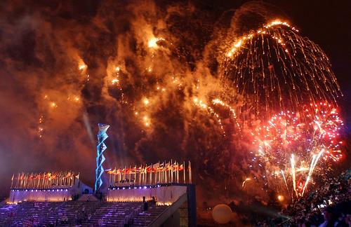 Francisco Kjolseth | Tribune file photo Fireworks explode above the Closing Ceremony at Rice-Eccles Stadium, signaling the end of the Salt Lake Olympics.