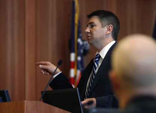 Scott Sommerdorf  |  The Salt Lake Tribune              Prosecutor Pat Finlinson gives his closing remarks in the trial of Roberto Miramontes Román in court in Spanish Fork, Friday, August 17, 2012.