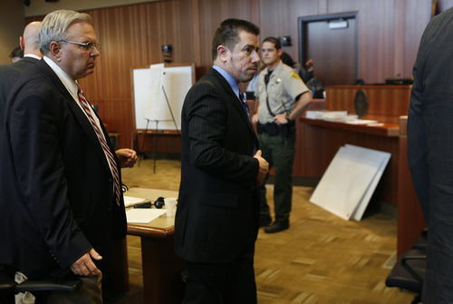 Scott Sommerdorf  |  The Salt Lake Tribune              Roberto Miramontes Román leaves court after the jury was excused to deliberate on the verdict, Friday, August 17, 2012.