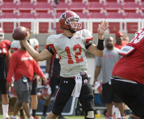 Paul Fraughton | The Salt Lake Tribune Utah  freshman  backup quarterback Adam Schulz practices  Tuesday, Aug. 14, 2012.