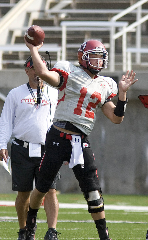 Paul Fraughton | The Salt Lake Tribune Utah  freshman  backup quarterback Adam Schulz practices  Tuesday, Aug. 14, 2012.
