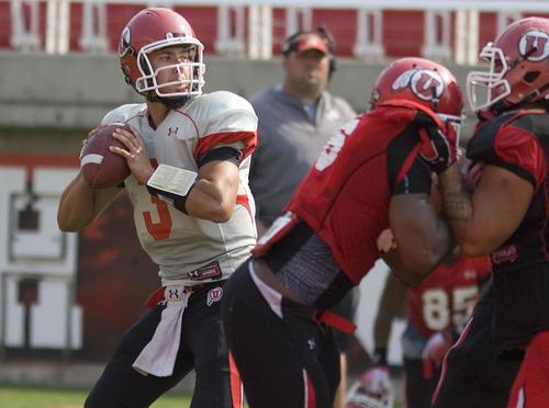 Paul Fraughton | The Salt Lake Tribune Utah quarterback Jordan Wynn practices Tuesday, Aug. 14, 2012