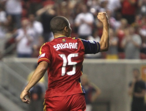 Rick Egan  | The Salt Lake Tribune    Real Salt Lake forward Alvaro Saborio (15) after he scored the only goals for Real Salt Lake,  in MLS soccer action Salt Lake vs FC Dallas, at Rio Tinto Stadium, Saturday, August 18, 2012.
