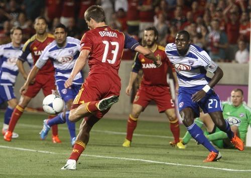 Rick Egan  | The Salt Lake Tribune   Justin Braun takes a shot on goal, in MLS soccer action, at Rio Tinto Stadium, Saturday, August 18, 2012.