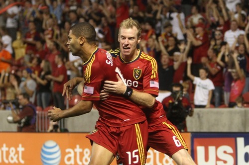 Rick Egan  | The Salt Lake Tribune   Real Salt Lake defender Nat Borchers (6) congratulates Real Salt Lake forward Alvaro Saborio (15) after he scores the only goals for Real Salt Lake,  in MLS soccer action Salt Lake vs FC Dallas, at Rio Tinto Stadium, Saturday, August 18, 2012.