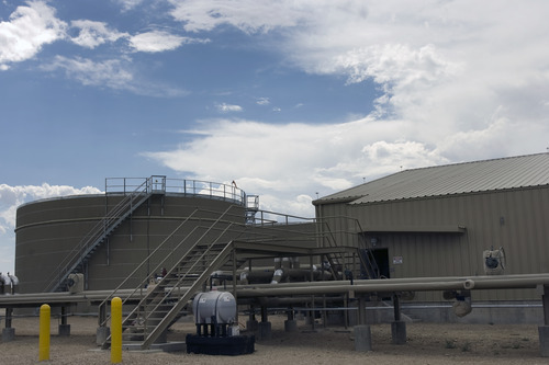 Kim Raff | The Salt Lake Tribune A waste water treatment plant owned by Newfield Exploration Company in Monument Butte near Roosevelt, Utah on August 9, 2012. The company uses the plant to treat the water used in their oil drilling operations.
