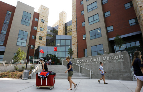 Francisco Kjolseth  |  The Salt Lake Tribune It was moving day recently at the University of Utah at the new Donna Garff Marriott Residential Scholars Hall. The new hall will house 309 students and resident advisors in apartment-style units.