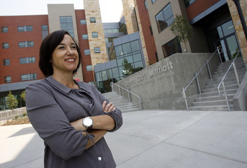 Francisco Kjolseth  |  The Salt Lake Tribune Sylvia Torti, the U.'s dean of the Honors College, welcomes students to the new Honors College dorm near the Huntsman Center on Thursday, Aug. 16, 2012.