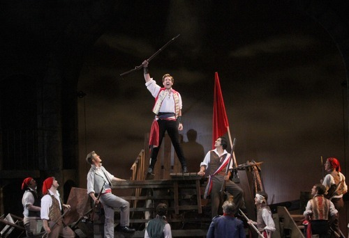 Rick Egan  | The Salt Lake Tribune   Student revolutionaries storm the barricades in the streets of Paris in the Utah Shakespeare Festival production of
