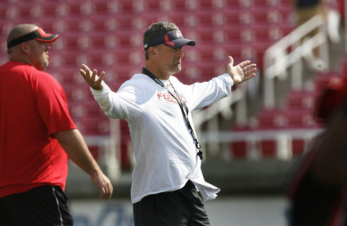 Scott Sommerdorf  |  The Salt Lake Tribune              Utah head coach Kyle Whittingham reacts to a play at Utah football practice, Saturday, August 18, 2012.
