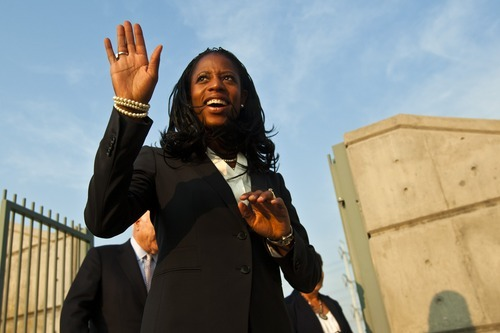 Chris Detrick  |  The Salt Lake Tribune Mia Love is introduced during a rally at the Utah Cultural Celebration Center on Aug. 16, 2012.