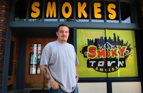 Rick Egan  | The Salt Lake Tribune  Kody Bowman, owner of Smoky Town Smokes shop in Magna, is in favor of a proposed tobacco shop ordinance expected to be adopted Tuesday by the Salt Lake County Council that will crack down on stores illegally selling synthetic marijuana products, also known as