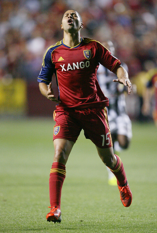 Steve Griffin | The Salt Lake Tribune   Real Salt Lake's Alvaro Saborio throws his head back in disbelief after missing wide on a shot during a game against Tauro FC at Rio Tinto Stadium in Sandy on Tuesday, Aug. 21, 2012.