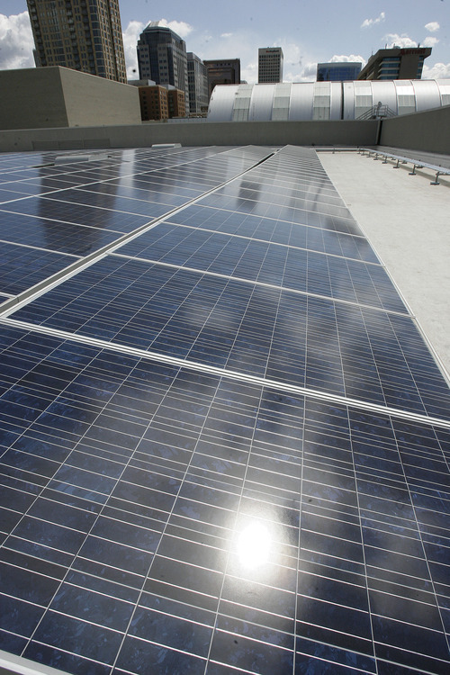 Scott Sommerdorf     The Salt Lake Tribune              A solar energy array on the roof of the Salt Palace Convention Center produces 17 percent of the facility's energy needs, or enough electricity to power 228 homes for a year.