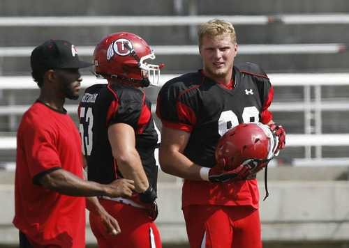 Scott Sommerdorf  |  The Salt Lake Tribune              DE Joe Kruger at Utah football practice, Saturday, August 18, 2012.