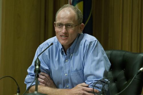 Chris Detrick  |  The Salt Lake Tribune Bill Barron participates in a Senate debate at Bountiful City Council Chambers Tuesday August 21, 2012.