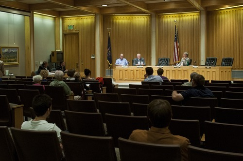 Chris Detrick  |  The Salt Lake Tribune Bill Barron, Shaun McCausland and Scott Howell participate in a Senate debate at Bountiful City Council Chambers Tuesday August 21, 2012.