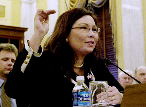 Former Assistant Veterans Affairs Secretary-designate Tammy Duckworth testifies on Capitol Hill in Washington in April 2009. After more than a decade of wars in Iraq and Afghanistan, dozens of military veterans - Republicans and Democrats - are running for Congress this election year as voters have shown a fresh enthusiasm for candidates with no elected experience. This year, as the military has opened more jobs to women closer to the front lines, several of those veterans are females with battlefield scars and pioneering accomplishments.  (AP file photo)