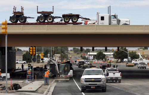 Francisco Kjolseth  |  The Salt Lake Tribune Traffic moves north as construction continues Wednesday on the Orem Center Street exit as part of the massive I-15 CORE project. Most freeway lanes remained open throughout the months-long project.