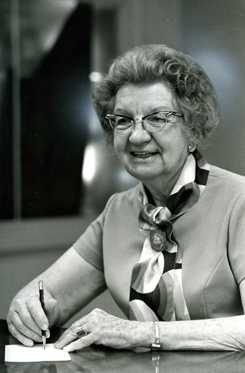 Tribune File Photo Belle Spafford oversaw LDS Relief Society for nearly 30 years in the mid-20th century and helped with global relief efforts after World War II.