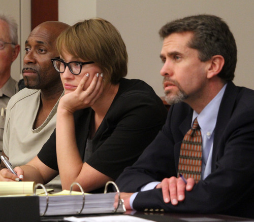 Rick Egan  | The Salt Lake Tribune   Thomas Pennington (left) sits next to his attorney's  Mariam Larson, and Michael Sikora, during his preliminary hearing in Judge Robin Reese's court room, at the Matheson Courthouse, in Salt Lake City, Thursday, August 23, 2012.  Pennington is charged in the 1986 cold-case murder of Patricia Ramirez. He is charged with one count of murder in the second degree, a first-degree felony.