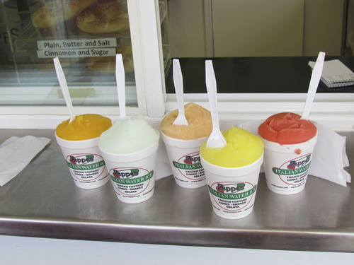 Courtesy of Wallace Dirmyer Just a sampling of the 30-plus Italian Water Ices from Zeppe's in Harrisville. Left to right: mango, margarita, peach, pineapple and tropic surprise, a blend of passion fruit and strawberry banana.
