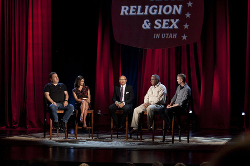 From left, Jeff Garlin (actor, comedian), Andrea Savage (actor, comedian), Larry Wilmore, Don Harwell (president, The Genesis Group, an independent branch of The Church of Jesus Christ of Latter-day Saints to serve the needs of its African-American members), and Troy Williams (gay rights activist, producer and writer, of Salt Lake City) appear on