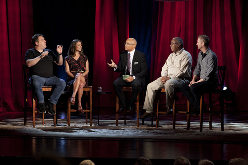 From left, Jeff Garlin (actor, comedian), Andrea Savage (actor, comedian), Larry Wilmore, Don Harwell (president, The Genesis Group, an independent branch of The Church of Jesus Christ of Latter-day Saints to serve the needs of its African-American members) and Troy Williams (gay rights activist, producer and writer, of Salt Lake City) appear on
