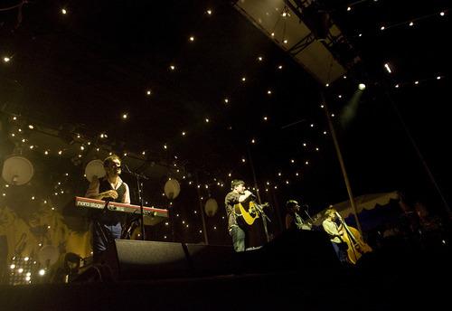 Kim Raff | The Salt Lake Tribune Mumford & Sons perform at Saltair in Magna on Aug. 22, 2012.