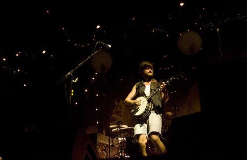 Kim Raff | The Salt Lake Tribune Mumford & Sons banjoist Country Winston Marshall performs at Saltair in Magna on Aug. 22, 2012.