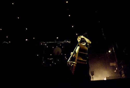 Kim Raff | The Salt Lake Tribune Mumford & Sons' Ted Dwane plays standup bass at Saltair in Magna on Aug. 22, 2012.