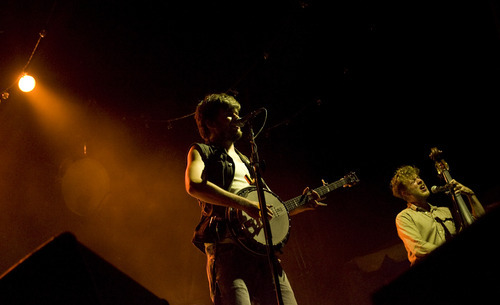 Kim Raff | The Salt Lake Tribune Country Winston Marshall, left, and Ted Dwane of Mumford & Sons perform at Saltair in Magna on Aug. 22, 2012.