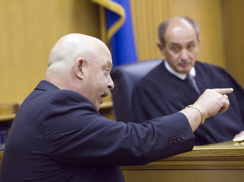 Theodore Costanzo, father of murder victim Micaela Costanzo, testifies during Kody Cree Patten's sentencing, Friday, Aug. 24, 2012, in Elko District Court, Elko, Nev. Patten, who pleaded guilty to first-degree murder in the 2011 killing of a West Wendover High School classmate, was sentenced to  life in prison without the possibility of parole. (AP Photo/Elko Daily Free Press, Ross Andreson)