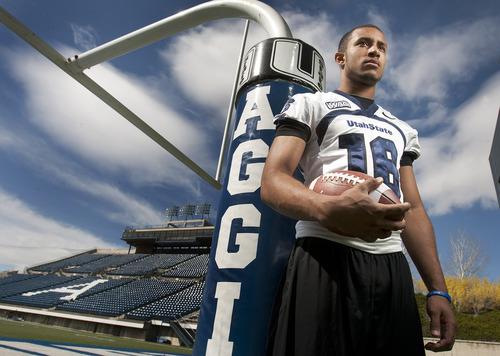 Leah Hogsten  |  The Salt Lake Tribune Utah State University sophomore Chuckie Keeton, March 30, 2012 , is rising quarterback for the Aggies.