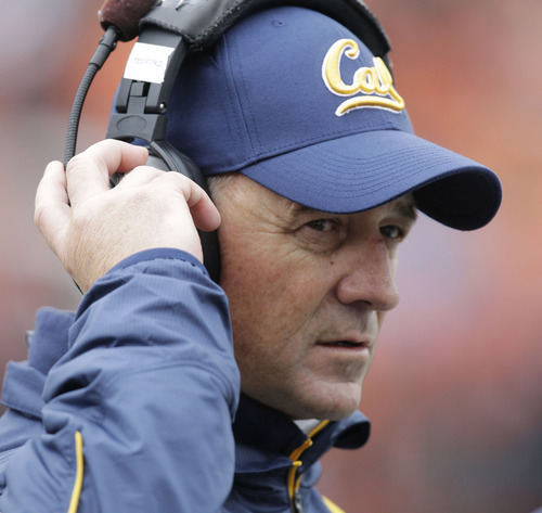 In this Oct. 30, 2010 file photo, California head coach Jeff Tedford looks on from the sidelines during an NCAA college football game with Oregon State  in Corvallis, Ore. Tedford has about the deepest and most wide open quarterback competition he can remember, and there's one common theme among the candidates this spring.