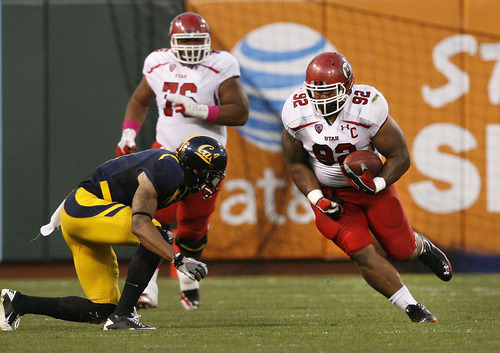 Scott Sommerdorf     The Salt Lake Tribune              At one point Utah defensive tackle Star Lotulelei (92) seemed to be the big offensive star for the Utes on this faked punt that gained a first down during second half play. Jon Hayes later threw an interception to stop the drive. The Cal Bears beat Utah 34-10 at AT&T Park in San Francisco, Saturday, October 22, 2011.