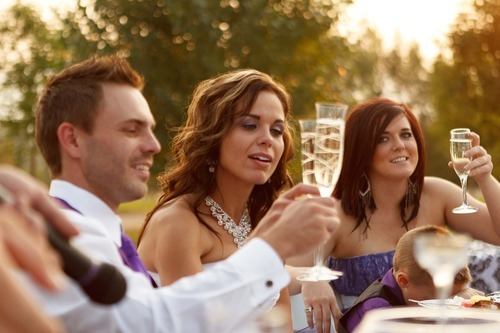 Trent Nelson  |  The Salt Lake Tribune Jen Comer, center, shares a toast with her husband Daniel Comer and Maid of Honor Janae Davis at the couple's wedding reception in Huntsville, Utah, Aug. 18, 2012.