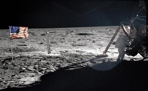 In this July 20, 1969 photo provided by NASA shows Apollo 11 astronaut Neil Armstrong on the lunar surface. Apollo 11 astronauts trained on Earth to take individual photographs in succession in order to create a series of frames that could be assembled into panoramic images. This frame from Aldrin's panorama of the Apollo 11 landing site is the only good picture of mission commander Neil Armstrong on the lunar surface. The family of Neil Armstrong, the first man to walk on the moon, says he has died at age 82. A statement from the family says he died following complications resulting from cardiovascular procedures. It doesn't say where he died. Armstrong commanded the Apollo 11 spacecraft that landed on the moon July 20, 1969. He radioed back to Earth the historic news of