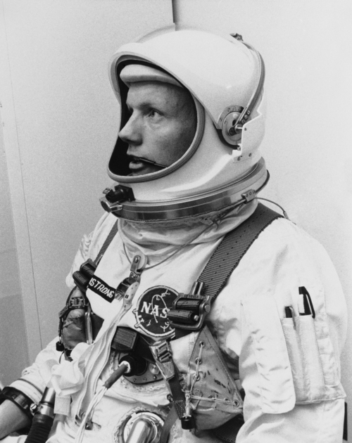 FILE - In this March 6, 1966 file photo Astronaut Neil Armstrong, pilot for the Gemini VIII mission is shown. The family of Neil Armstrong, the first man to walk on the moon, says he has died at age 82. A statement from the family says he died following complications resulting from cardiovascular procedures. It doesn't say where he died. Armstrong commanded the Apollo 11 spacecraft that landed on the moon July 20, 1969. He radioed back to Earth the historic news of