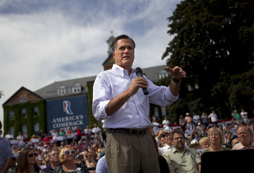 Republican presidential candidate, former Massachusetts Gov. Mitt Romney speaks during a campaign rally, Monday, Aug. 20, 2012, in Manchester N.H.  (AP Photo/Evan Vucci)